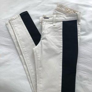 Jbrand white jeans with black stripe